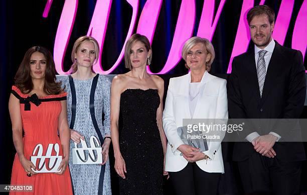 Salma Hayek Inma Shara Queen Letizia of Spain Maria Neira and Antonio Asensio attends 'Woman Awards' at 'Casino de Madrid' on April 20 2015 in Madrid...