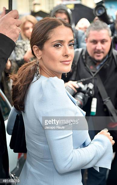 Salma Hayek is arriving at Giambattista Valli Fashion Show during the Paris Fashion Week S/S 2016 Day Seven on October 5 2015 in Paris France