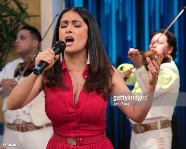 Salma Hayek is seen at Despierta America studio to promote the film 'How To Be A Latin Lover' on April 24 2017 in Miami Florida