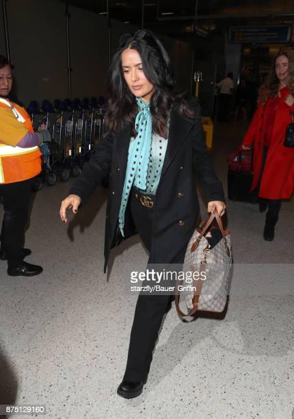 Salma Hayek is seen at LAX on November 16 2017 in Los Angeles California