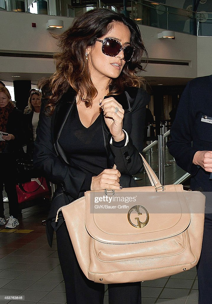 Salma Hayek is seen at Los Angeles International Airport on February 27 2012 in Los Angeles California