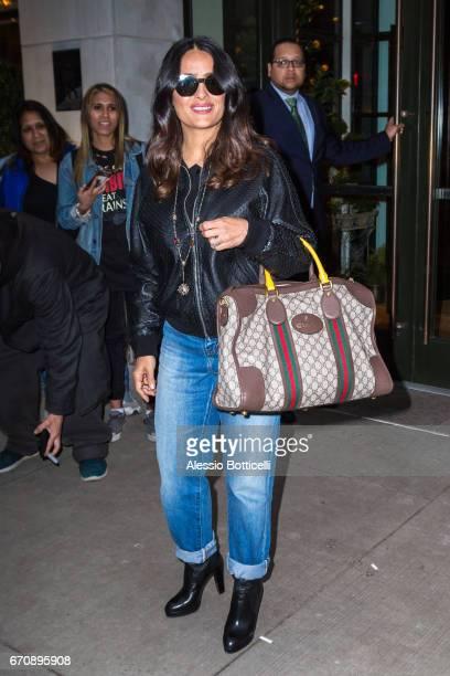 Salma Hayek is seen leaving her hotel on April 20 2017 in New York New York