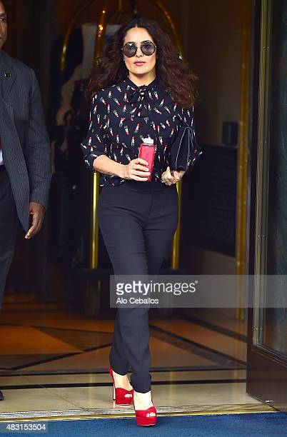 Salma Hayek is seen on August 6 2015 in New York City