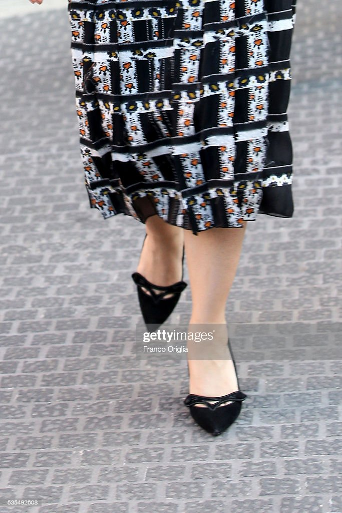 Salma Hayek (shoes detail) leaves at the end of 'Un Muro o Un Ponte' Seminary held by Pope Francis at the Paul VI Hall on May 29, 2016 in Vatican City, Vatican.