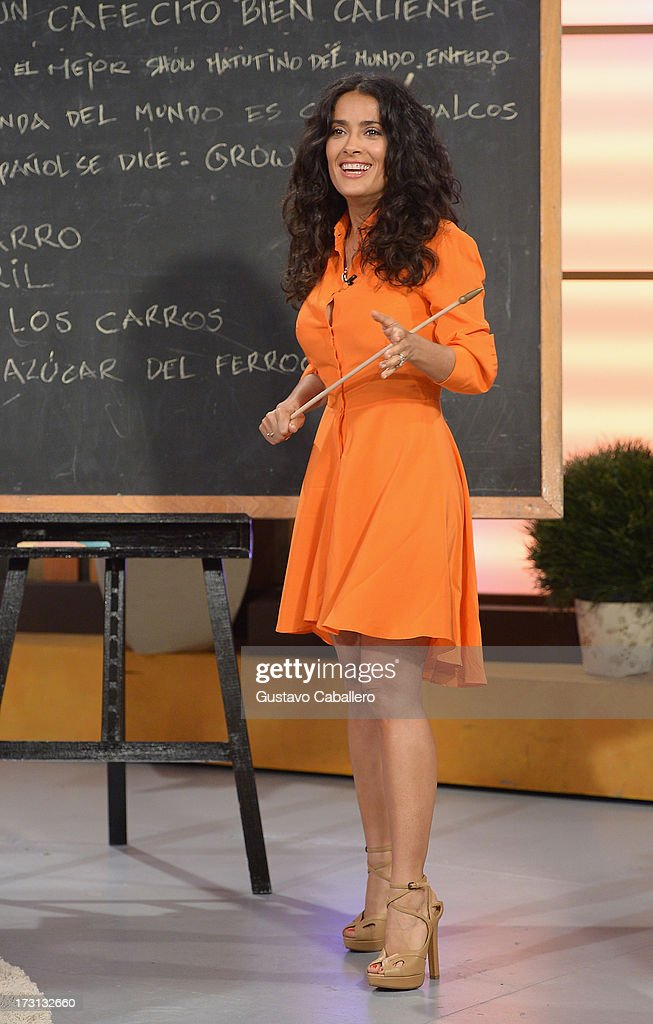 Salma Hayek of 'Grown Ups 2' cast appears on Univisions 'Despierta America' to promote the movie at Univision Headquarters on July 8, 2013 in Miami, Florida.