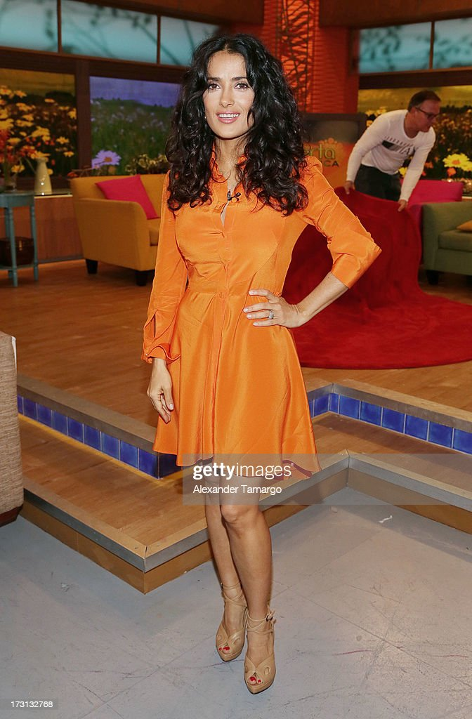 Salma Hayek of 'Grown Ups 2' cast appears on Univision's 'Despierta America' to promote the movie at Univision Headquarters on July 8, 2013 in Miami, Florida.