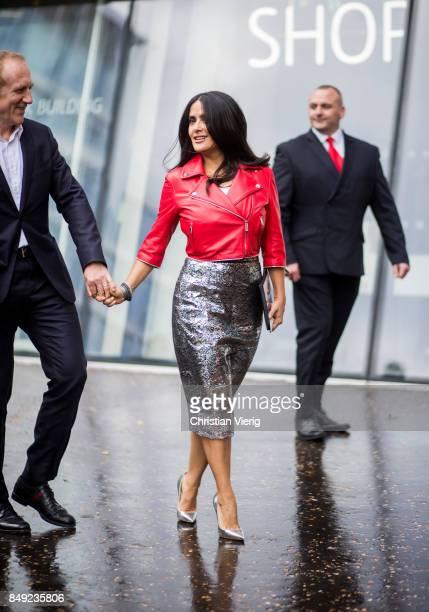 Salma Hayek outside Christopher Kane during London Fashion Week September 2017 on September 18 2017 in London England