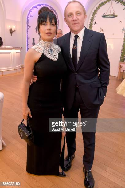 Salma Hayek Pinault and FrancoisHenri Pinault attend the Vanity Fair and HBO Dinner celebrating the Cannes Film Festival at Hotel du CapEdenRoc on...