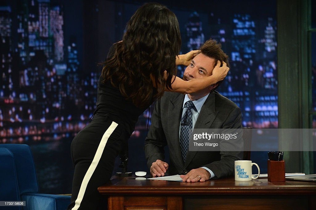 Salma Hayek Pinault and Jimmy Fallon during a taping of 'Late Night With Jimmy Fallon' at Rockefeller Center on July 11, 2013 in New York City.
