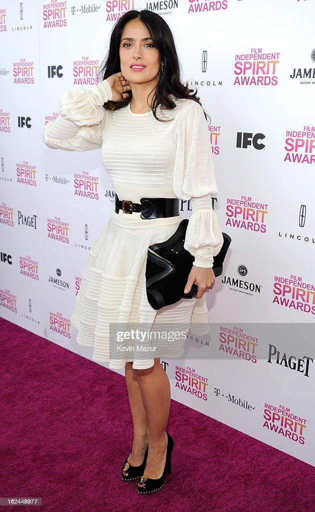 Salma Hayek Pinault attends the 2013 Film Independent Spirit Awards at Santa Monica Beach on February 23, 2013 in Santa Monica, California.