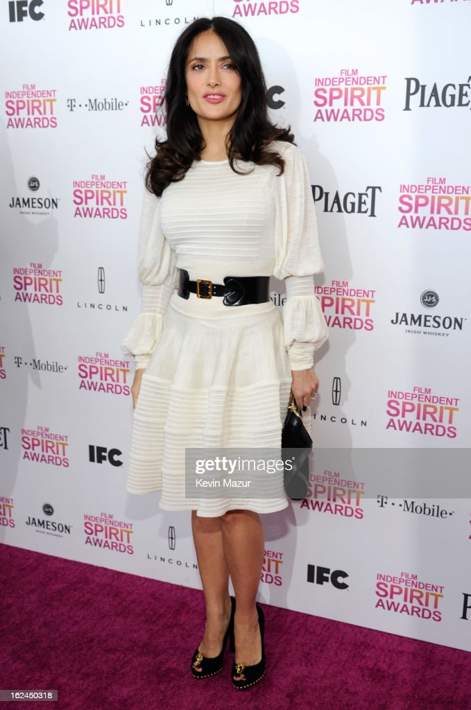 Salma Hayek Pinault attends the 2013 Film Independent Spirit Awards at Santa Monica Beach on February 23, 2013 in Santa Monica, California.
