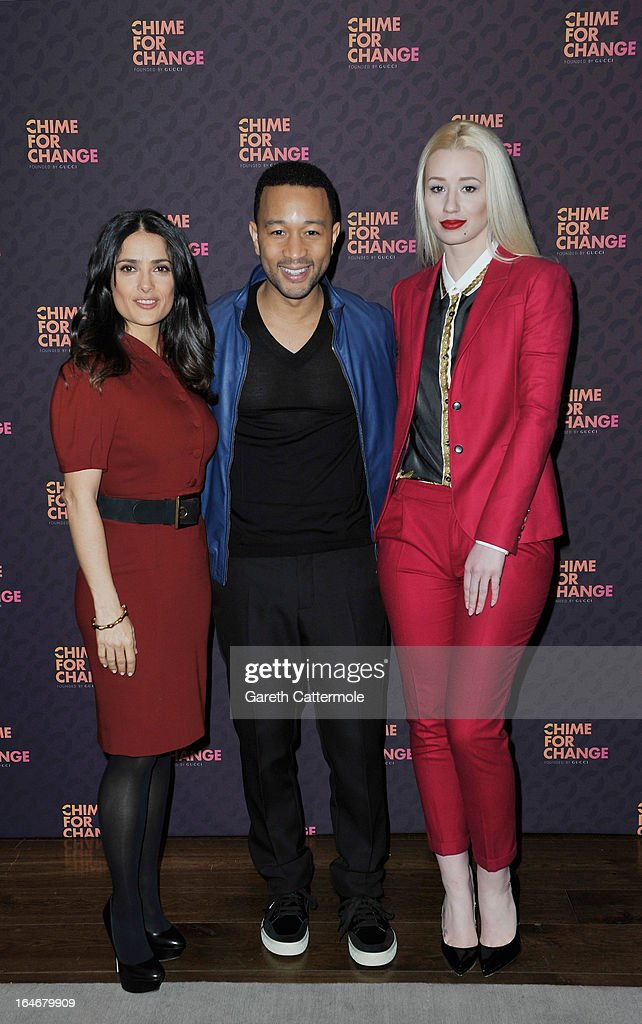 Salma Hayek Pinault, John Legend and Iggy Azalea attend a press conference to announce 'The Sound Of Change Live', a global concert event, at the Soho Hotel on March 26, 2013 in London, United Kingdom. Chime For Change, a global campaign for girls' and women's empowerment founded by Gucci and with a founding committee comprised of Gucci Creative Director Frida Giannini, Salma Hayek Pinault and Beyonce Knowles-Carter, today announced a concert event at London's Twickenham Stadium on June 1 with Co-founder and Artistic Director, Beyonce as headliner. Also set to perform are Ellie Goulding, Florence and the Machine, HAIM, Iggy Azalea, John Legend, Laura Pausini, Rita Ora, Timbaland and more to be announced.