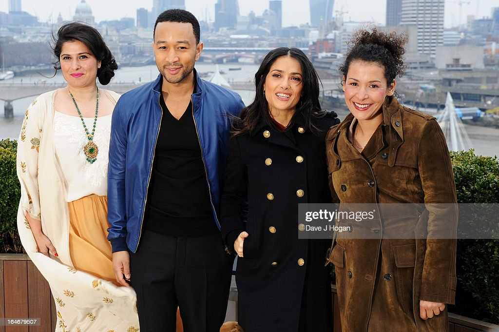 Salma Hayek Pinault, Mariane Pearl, John Legend and Sharmeen Obaid-Chinoy attend a photo call to launch 'The Sound Of Change Live' at the Corinthia Hotel on March 26, 2013 in London, United Kingdom. Chime For Change, a global campaign for girls' and women's empowerment founded by Gucci and with a founding committee comprised of Gucci Creative Director Frida Giannini, Salma Hayek Pinault and Beyonce Knowles-Carter, today announced a concert event at London's Twickenham Stadium on June 1 with Co-founder and Artistic Director, Beyonce as headliner. Also set to perform are Ellie Goulding, Florence and the Machine, HAIM, Iggy Azalea, John Legend, Laura Pausini, Rita Ora, Timbaland and more to be announced.