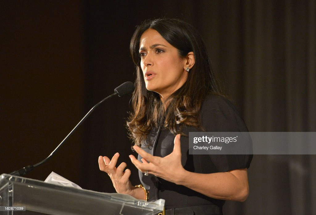 <a gi-track='captionPersonalityLinkClicked' href=/galleries/search?phrase=Salma+Hayek&family=editorial&specificpeople=201844 ng-click='$event.stopPropagation()'>Salma Hayek</a> Pinault, PPR Corporate Foundation for Women's Dignity and Rights, speaks at the launch of Chime for Change, founded by Gucci, at TED held at The Westin on February 28, 2013 in Long Beach, California.