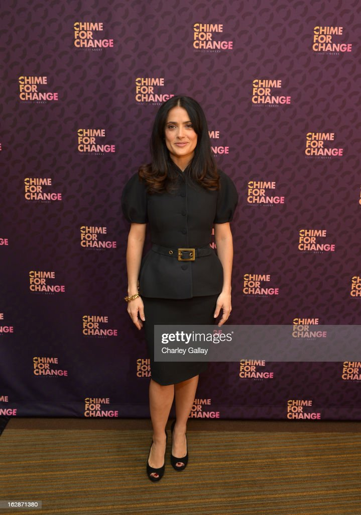 <a gi-track='captionPersonalityLinkClicked' href=/galleries/search?phrase=Salma+Hayek&family=editorial&specificpeople=201844 ng-click='$event.stopPropagation()'>Salma Hayek</a> Pinault, PPR Corporate Foundation for Women's Dignity and Rights attends the launch of Chime for Change, founded by Gucci, at TED held at The Westin on February 28, 2013 in Long Beach, California.
