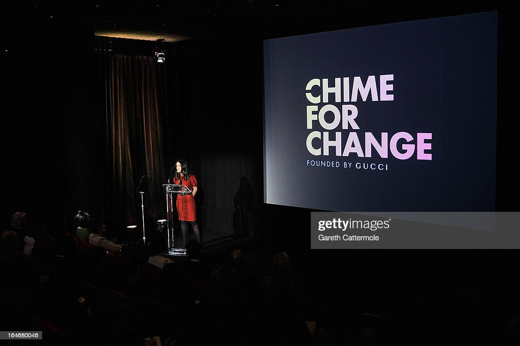Salma Hayek Pinault speaks at a press conference to announce 'The Sound Of Change Live', a global concert event, at the Soho Hotel on March 26, 2013 in London, United Kingdom. Chime For Change, a global campaign for girls' and women's empowerment founded by Gucci and with a founding committee comprised of Gucci Creative Director Frida Giannini, Salma Hayek Pinault and Beyonce Knowles-Carter, today announced a concert event at London's Twickenham Stadium on June 1 with Co-founder and Artistic Director, Beyonce as headliner. Also set to perform are Ellie Goulding, Florence and the Machine, HAIM, Iggy Azalea, John Legend, Laura Pausini, Rita Ora, Timbaland and more to be announced.