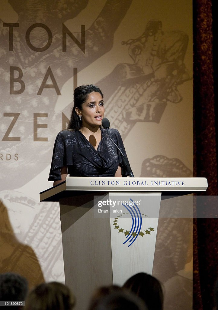 Salma Hayek Pinault speaks during the Clinton Global Citizens Awards at the conclusion to the annual Clinton Global Initiative (CGI) on September 23, 2010 in New York City. The sixth annual meeting of the CGI gathers prominent individuals in politics, business, science, academics, religion and entertainment to discuss global issues such as climate change and the reconstruction of Haiti. The event, founded by Clinton after he left office, is held the same week as the General Assembly at the United Nations, when most world leaders are in New York City.