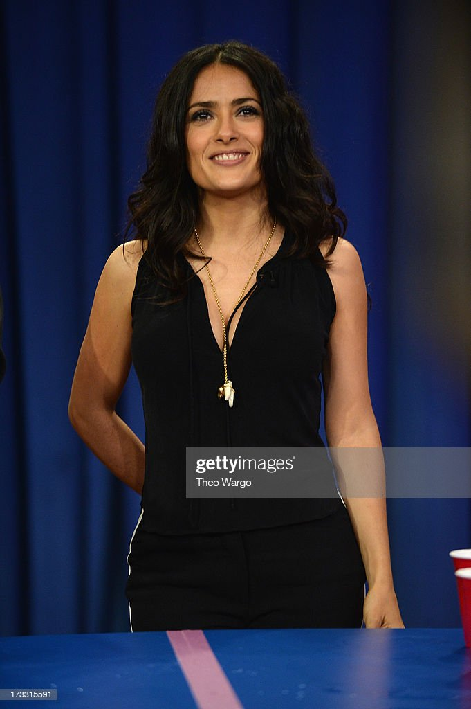 <a gi-track='captionPersonalityLinkClicked' href=/galleries/search?phrase=Salma+Hayek&family=editorial&specificpeople=201844 ng-click='$event.stopPropagation()'>Salma Hayek</a> Pinault visits 'Late Night With Jimmy Fallon' at Rockefeller Center on July 11, 2013 in New York City.