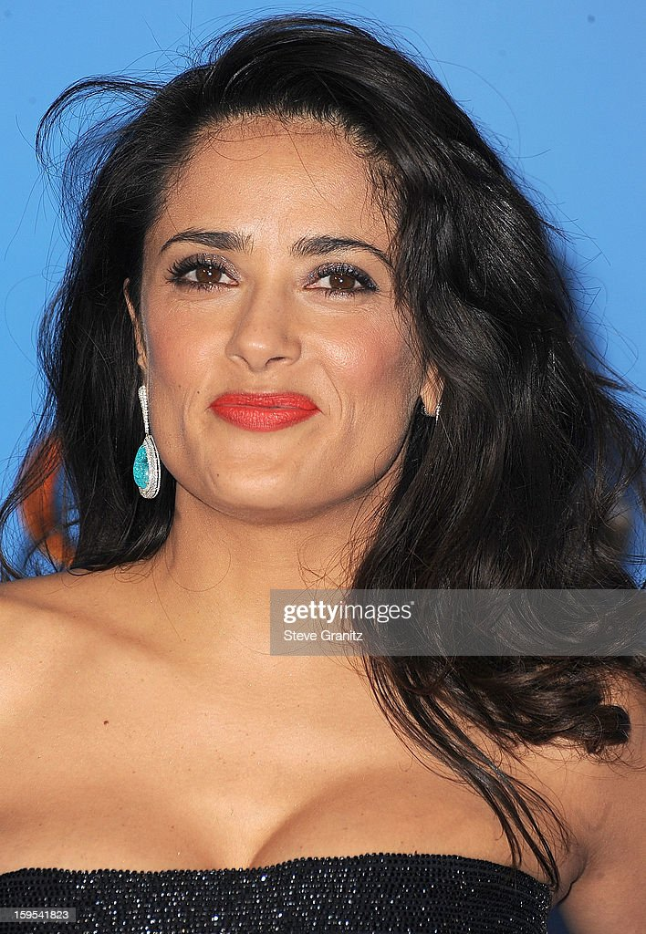 Salma Hayek poses at the 70th Annual Golden Globe Awards at The Beverly Hilton Hotel on January 13, 2013 in Beverly Hills, California.