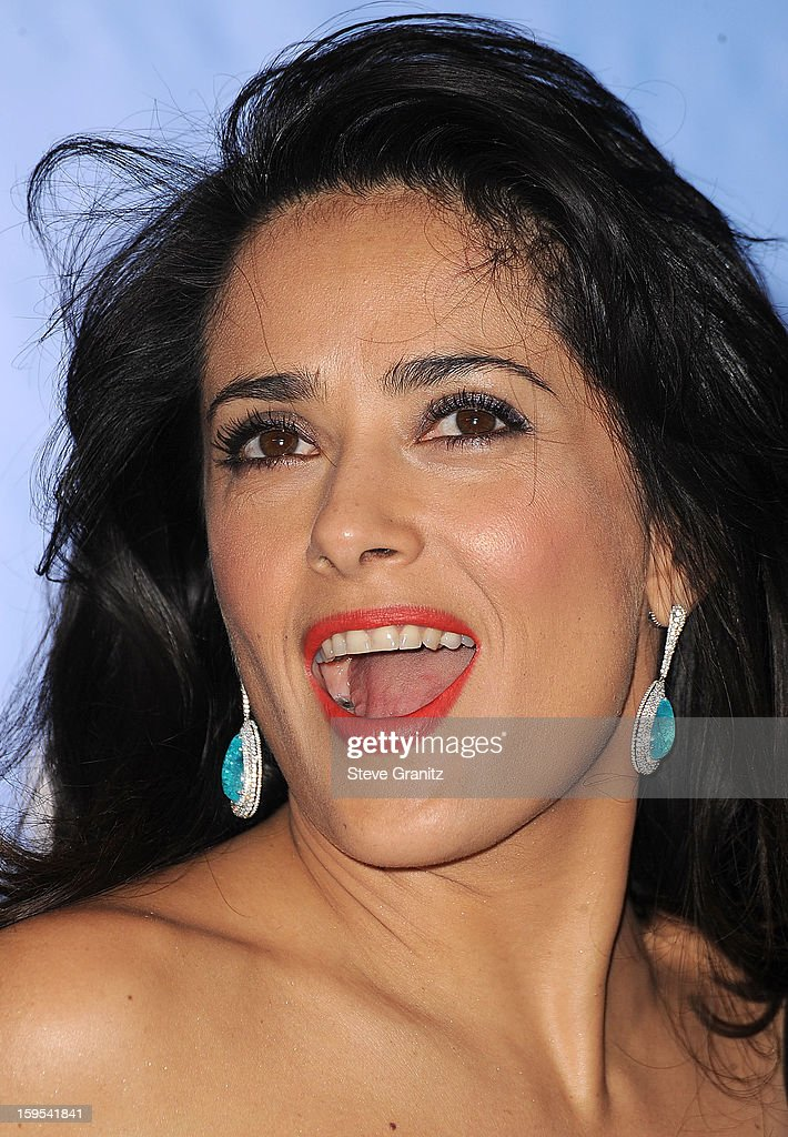 <a gi-track='captionPersonalityLinkClicked' href=/galleries/search?phrase=Salma+Hayek&family=editorial&specificpeople=201844 ng-click='$event.stopPropagation()'>Salma Hayek</a> poses at the 70th Annual Golden Globe Awards at The Beverly Hilton Hotel on January 13, 2013 in Beverly Hills, California.