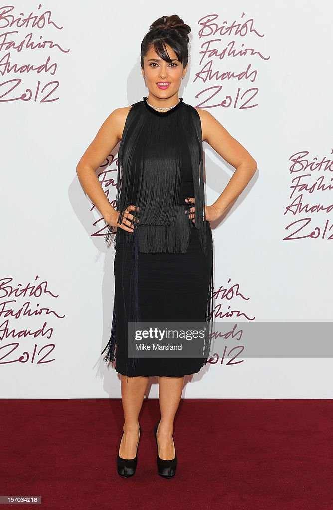 <a gi-track='captionPersonalityLinkClicked' href=/galleries/search?phrase=Salma+Hayek&family=editorial&specificpeople=201844 ng-click='$event.stopPropagation()'>Salma Hayek</a> poses in the awards room at the British Fashion Awards 2012 at The Savoy Hotel on November 27, 2012 in London, England.