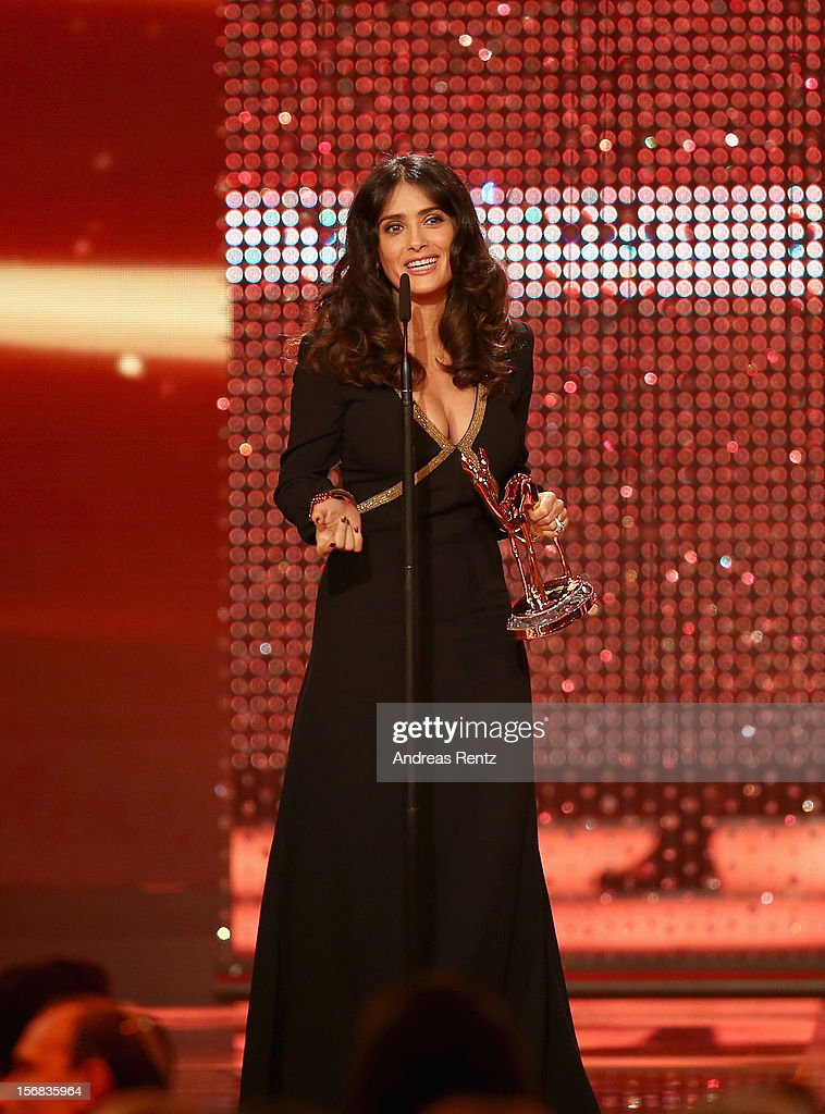 Salma Hayek receives the Bambi Award 'Actress International' during the 'BAMBI Awards 2012' at the Stadthalle Duesseldorf on November 22, 2012 in Duesseldorf, Germany.
