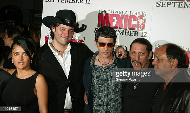 Salma Hayek Robert Rodriguez director Antonio Banderas Danny Trejo and Cheech Marin