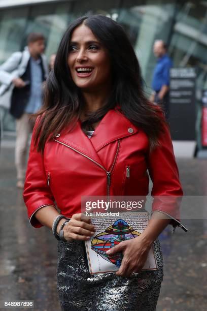 Salma Hayek seen at Christopher Kane at Tate Modern during London Fashion Week September 2017 on September 18 2017 in London England