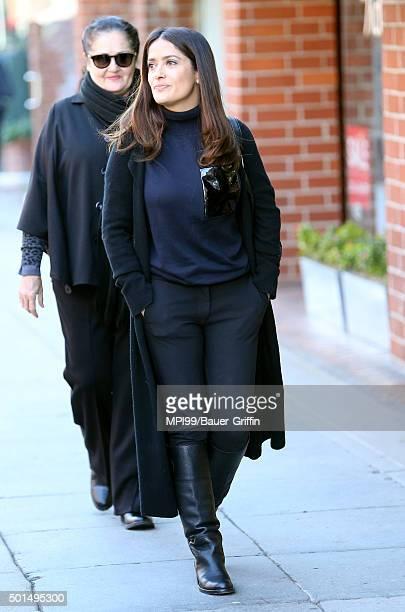 Salma Hayek seen with her mother Diana Jimenez Medina on December 15 2015 in Los Angeles California