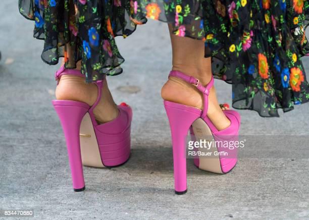 Salma Hayek shoe detail is seen at 'Jimmy Kimmel Live' on August 17 2017 in Los Angeles California
