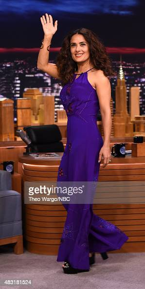 Salma Hayek Visits 'The Tonight Show Starring Jimmy Fallon' at Rockefeller Center on August 6 2015 in New York City