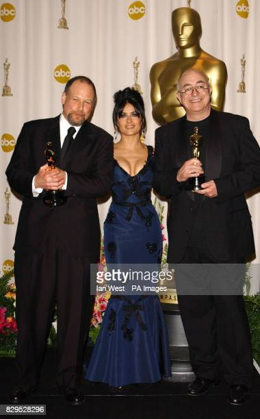 Salma Hayek with Michael Silvers and Randy Thom receive the Achievement In Sound Editing Award for The Incredibles