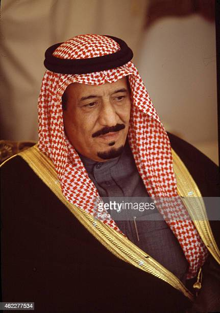 Salman bin Abdulaziz Al Saud then governor of Riyadh during the 'majlis' a weekly meeting in December 2002 where citizens can call directly out to...