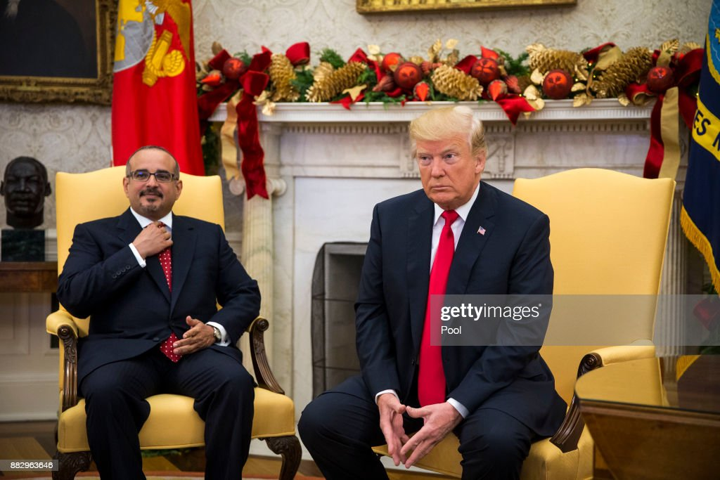 Salman bin Hamad Al-Khalifa, Crown Prince of Bahrain, meets with U.S. President Donald Trump on November 30, 2017 in the Oval Office at the White House in Washington, D.C.