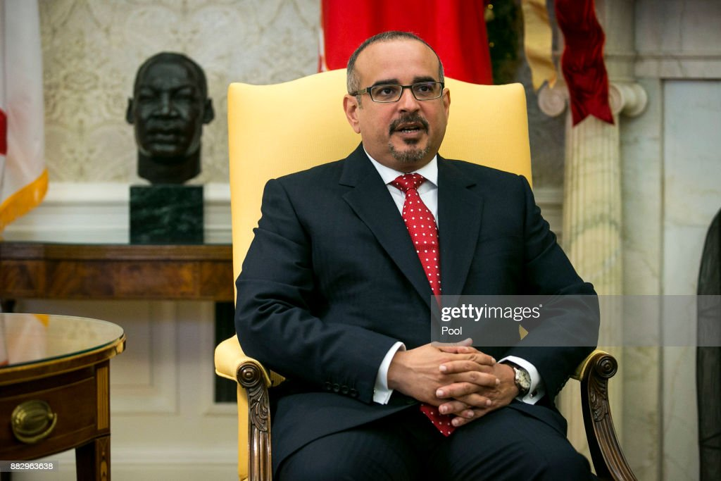 Salman bin Hamad Al-Khalifa, Crown Prince of Bahrain, speaks during a meeting with U.S. President Donald Trump on November 30, 2017 in the Oval Office at the White House in Washington, D.C.