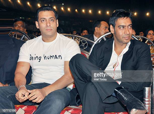 Salman Khan and Ajay Devgan at Mumbai Police show Umang 2011 at Andheri Sports Complex Mumbai on December 19 2010