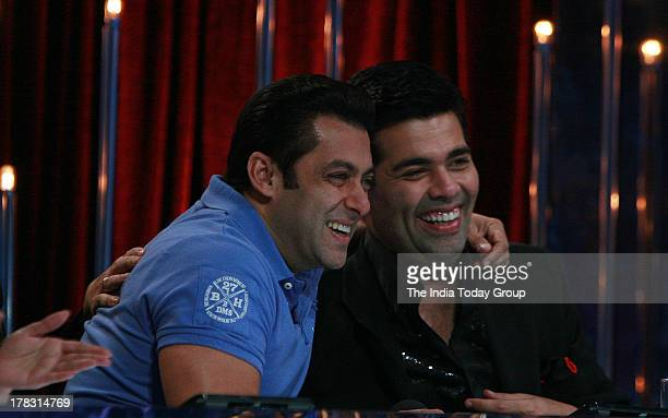 Salman Khan and Karan Johar on the sets of Jhalak Dikhla Jaa in Mumbai