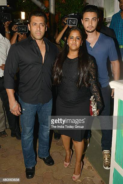 Salman Khan Arpita Khan and Ayush Sharma at the success bash hosted by Varun Dhawan and Shraddha Kapoor for their movie ABCD 2 in Mumbai