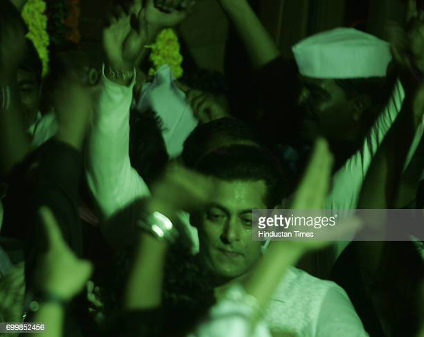 Salman Khan at his resident in Bandra for ganpati procession in Mumbai on Sunday