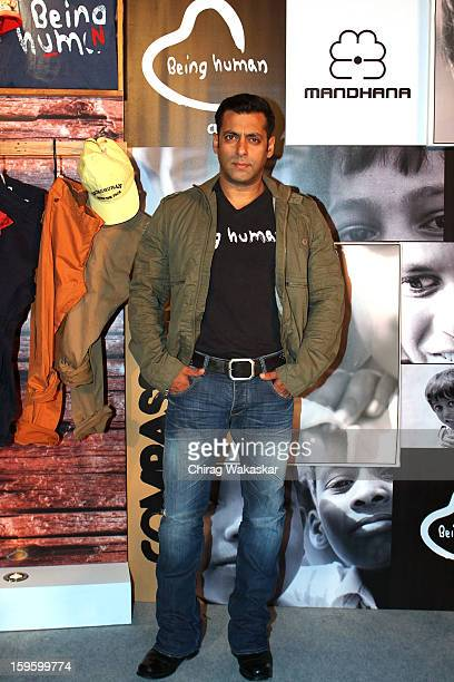 Salman Khan attends a press conference to launch the new Being Human flagship store at Sofitel on January 17 2013 in Mumbai India