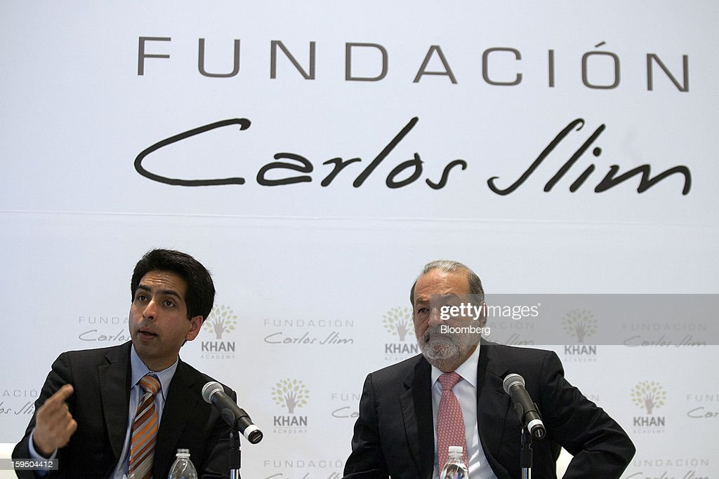 Salman Khan, founder of the Khan Academy, left, speaks during a news conference with Mexican billionaire Carlos Slim in Mexico City, Mexico, on Monday, Jan. 14, 2013. Slim announced his support for Khan's not-for-profit website that offers free educational videos and teaching tools. Photographer: Susana Gonzalez/Bloomberg via Getty Images