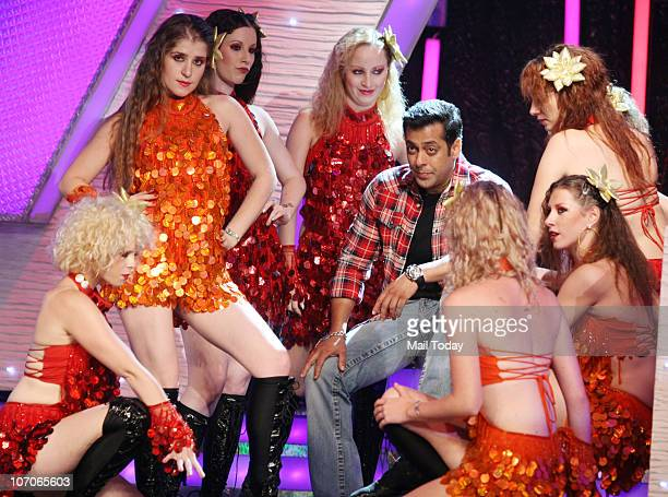 Salman Khan Indian Bollywood actor and host of Indian reality television show Bigg Boss dancing on the sets of the reality show Bigg Boss 4 at...