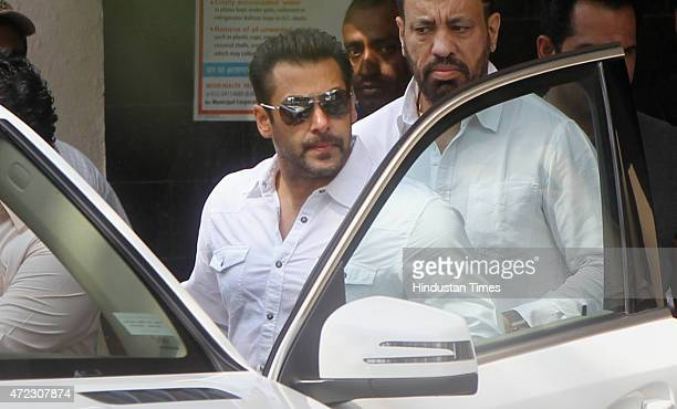Salman Khan leaves his Bandra residence for the Sessions Court on Wednesday morning on May 6 2015 in Mumbai India The actor has been sentenced to...