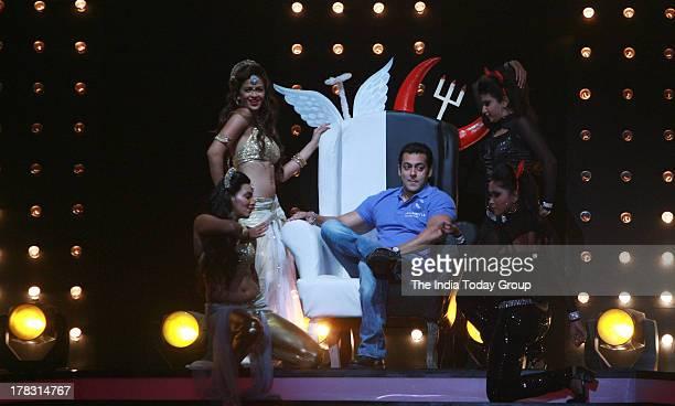 Salman Khan on the sets of Jhalak Dikhla Jaa to promote his upcoming show Bigg Boss in Mumbai