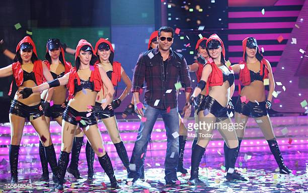 Salman Khan on the sets of the show Bigg Boss 4 in Mumbai on October 15 2010