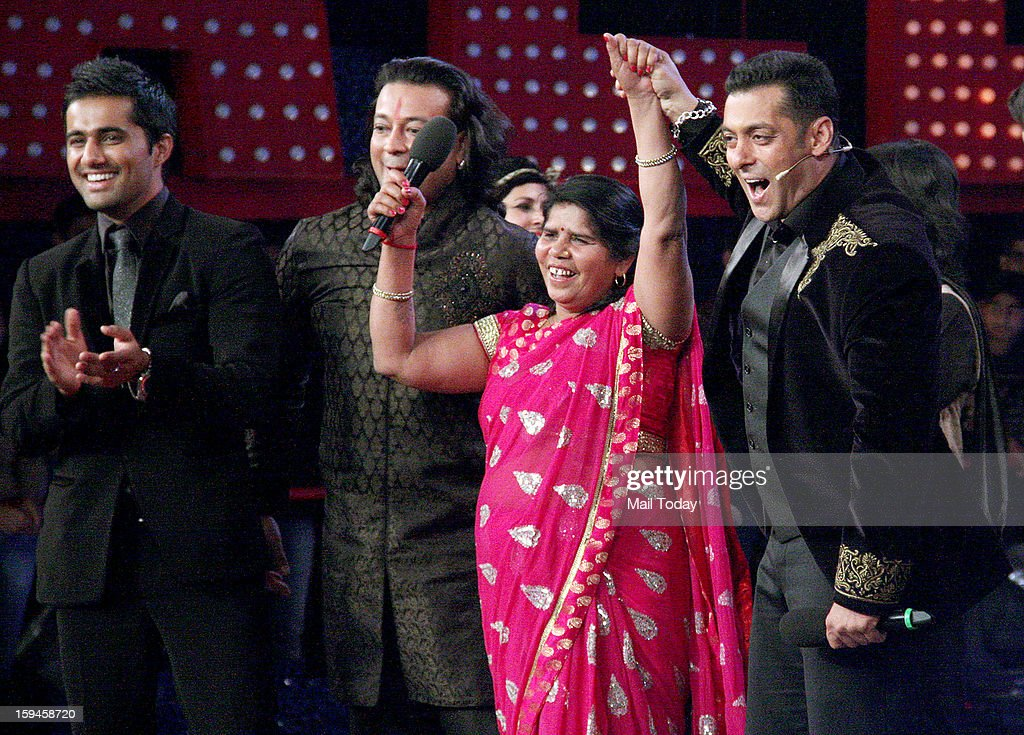 Salman Khan with other contestants during a Bigg Boss 6 Grand Finale in Mumbai.