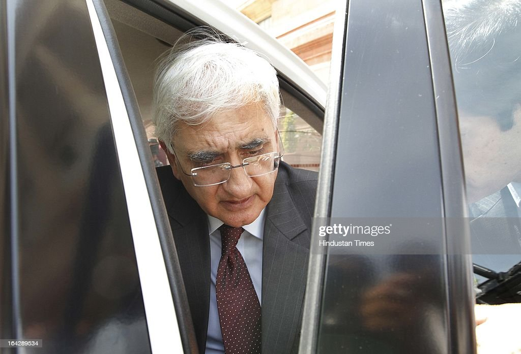 Salman Khurshid Union External Affairs Minister at Parliament house for ongoing Budget Session on March 22, 2013 in New Delhi, India. The Lok Sabha failed to transact any business for the third consecutive day as proceedings remained paralysed over the Sri Lankan Tamils issue.