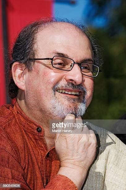 Salman Rushdie a wellknown author native to India speaking at the Jaipur Heritage International Festival He is best known for titles like Midnight's...