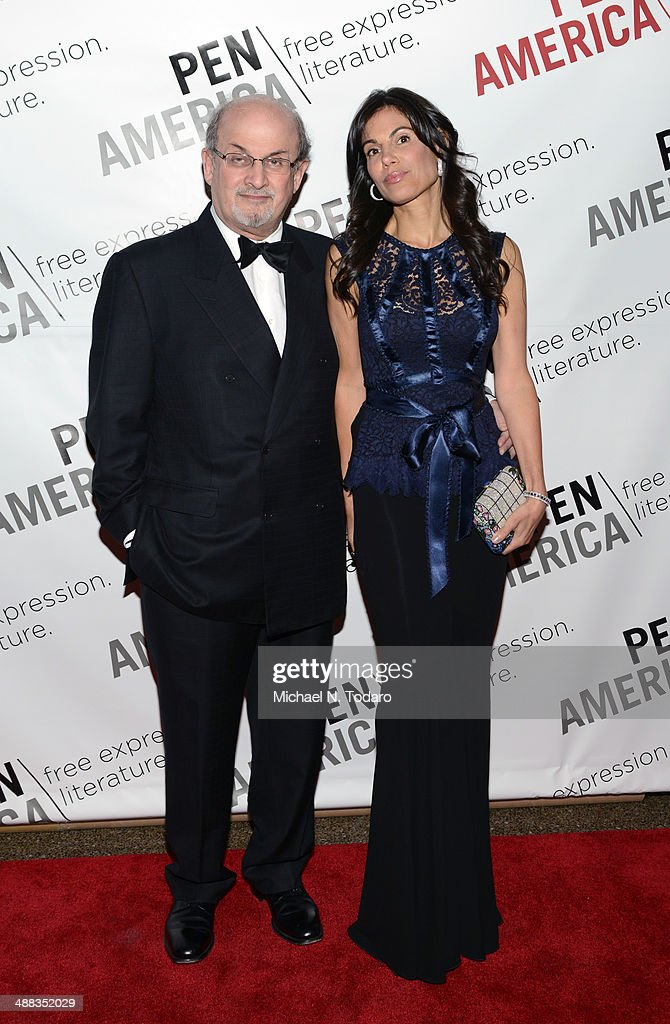 Salman Rushdie and Missy Brody attend 2014 PEN/Allen Foundation Literary Service awards at American Museum of Natural History on May 5 2014 in New...