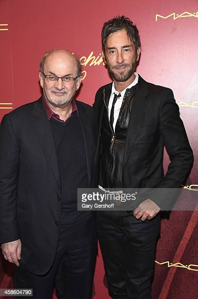 Salman Rushdie and owner of Indochine Jean Marc Houmard attend Indochine's 30th Anniversary Party at Indochine on November 7 2014 in New York City
